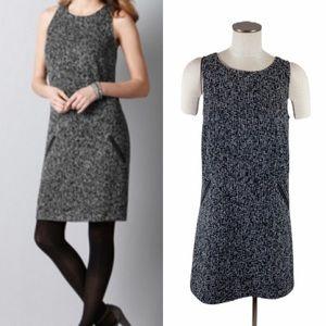 Ann Taylor LOFT Black White Tweed Shift Dress 6